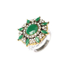 New Women fashion Unique Plated Ancient Gold green Crystal Round Ring Size 7-10