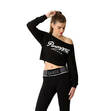 PINEAPPLE DANCEWEAR Womens Dance Crop Long Sleeved Off Shoulder Top Black