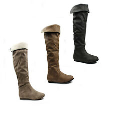 WOMENS LADIES SLOUCH FASHION FLAT KNEE HIGH CUFF ZIP RIDING BOOTS SHOES SIZE 3-8