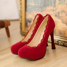 ladies womens round toe lace pumps faux suede high heels ol Court leisure shoes