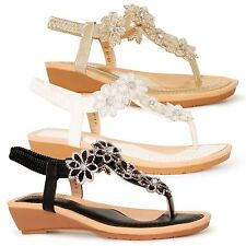 New Womens Summer Flower Sandals Ladies Flat Diamante Wedge Shoes Size Floral