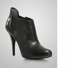 New Women's GUESS Ortena Black Leather Ankle Booties