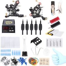 New Complete Tattoo Kit Power Supply Tips 2 Machine Guns Shader Liner Needle Tip