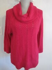 Jones New York Cerise Pink Loose Knit Cotton Blend Cowl Neck Pull Over Sweater