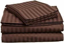 Egyptian Cotton American Water Bed Sheet Set Chocolate Stripe 1000 Thread Count