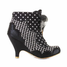 Irregular Choice dolly mixture black & cream spotted check ankle boot size 3 4 7