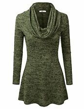 Doublju Marled Cowl Neck A-Line Tunic Sweater Dress Top (Made In USA / Plus SZ