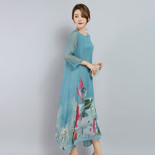 Ladies Silk Layered Baggy Long Dress Ladies Chinese Style Vintage Floral Gown