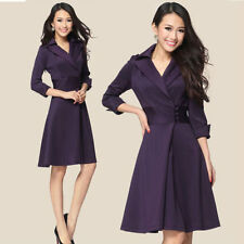 Casual Womens Autumn Dress Trench Coat Slim Fit Dust Coat Jacket Formal Trench