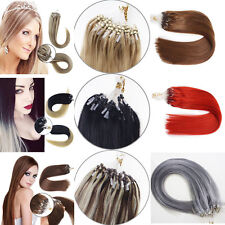 "18"" Easy Loop Micro Rings Beads Tipped Remy Human Hair Extensions Straight 100s"