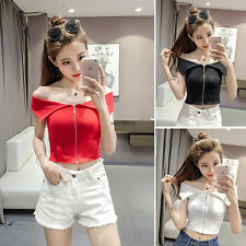 Sexy Women Girl V Neck Off Shoulder Zipper Knit Slim Clubwear Short Cropped Top