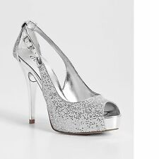 New Women's sz 9.5 GUESS Hondola Silver Peep-Toe Platform Pumps