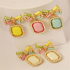 Bow Pearl Brief Stud Earring Elegant Stud Fashion Gem Candy Earrings 1Pair Color