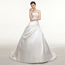 2017 NEW White Ivory Wedding Dress Bridal Gown Beads Stock Size 6-8-10-12-14-16