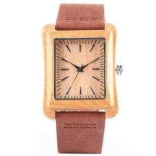 Casual Nature Wood Bamboo Genuine Leather Band Men Women Wrist Watch Bracelet
