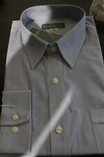 NEW MENS BLUE CHECK BUSINESS LONG SLEEVE SHIRT SIZE 43