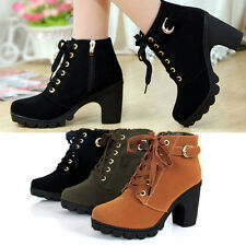 Girl Women High Top Heel Lace Up Buckle Ankle Boots Winter Pumps Suede Shoes TO