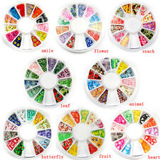 ins Fimo Acrylic Nail Art Decoration Tips 120PC Multicolor Slice Manicure Wheel