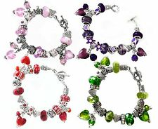 Pink Purple Red Green Murano Love Hearts Silver Charm Bracelet Swarovski Beads