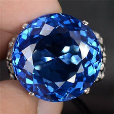 Women Man 925 Silver Huge 5CT Blue Sapphire Wedding Engagement Ring Size 6-10