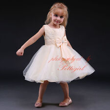 Girl Sequin Flower Bow Formal Dress Wedding Bridesmaid Party Pageant Christening