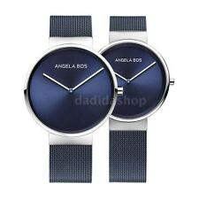 Angela Bos Couple Lover Womens Mens Quartz Watch Stainless Steel Mesh Strap X7N9