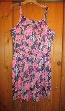 WOMEN'S PLUS SIZE FULL CUT NAVY AND PINK FLOWERED ROMPER    SIZE 3X