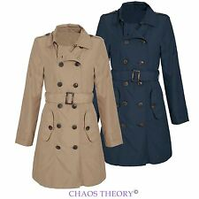 Womens Ladies Mac Double Breasted Buckle Belted Jacket Trench Coat