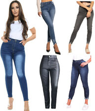 WOMENS HIGH WAISTED JEANS STRETCHY RIPPED KNEE JEGGINGS SKINNY LADIES PANTS 6-22