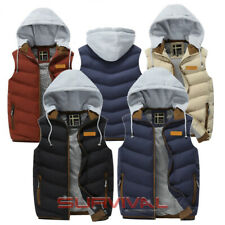 Mens Padded Vest Sleeveless Bomber Jacket Detachable Hood Outer Wear Size S M L