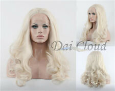 Lady White Blonde Natural Wavy Synthetic Hair Wigs Heat Resistant Lace Front New