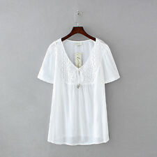 Womens Clothing Autograph Plus Size Tops Crochet Trim Popover Cotton Solid Tee