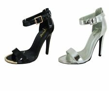 Qupid Interest-10 single band 4.75 inch stiletto heel sandals prom party shoes