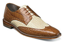 Stacy Adams Mustard and Ivory Giordano Wing Tip Dress Shoes Mens Shoes