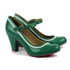 Cristofoli Shoes Green Genuine Leather Heels Retro Vintage PinUp Rockabilly