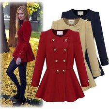 Hot Women Double-breasted Peacoat Winter Peplum Slim Parka Coat Jacket