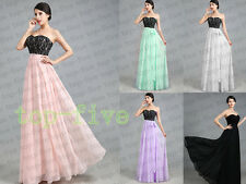 A12New  Long Lace Chiffon Wedding Bridesmaid Prom Evening Party Dress SIze 6-18+