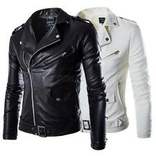 Men PU Leather Slim Jacket Fit Biker Motorcycle Cool Jacket Coat Outwear Coat