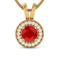 Red Ruby GH VVS Diamond Round Halo Gemstone Pendant Women 18K Solid Gold