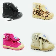 NEW GIRLS BOYS FOLD OVER LACE UP CHUNKY SOLE ANKLE PUMPSTRAINERS BOOTS SIZE 7-12