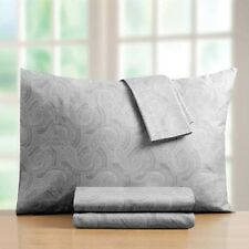 Croscill 400 Thread Count Sheet Set Gray Grey Paisley 100% Cotton Sateen Quality