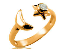 10K Solid Yellow GOLD Moon Star CZ Toe Ring