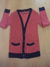 Ladies Cardigan/Cardi,Size 12,Coral/Black,2 Pockets,Primark/Atmosphere,New,BNWOT