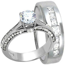 2 PC His & Hers 1.00CT Round CZ Engagement Wedding Ring Set Stainless Steel Band