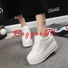 Women's girl Lace Up Platform Wedge High Heel Fashion Sneakers Casual Shoes