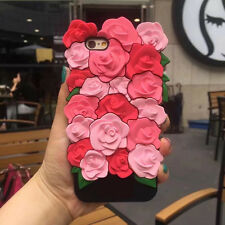 3D Creative Rose Flower Soft Silicone Phone Back Case Cover Skin For iPhone