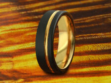 Black & Rose Gold Tungsten Carbide Ring,6MM,Brushed,Wedding,Anniversary,Two Tone