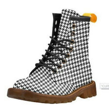 HOUNDSTOOTH CHECK Canvas Combat Boots 8 Hole Docs Dr Marten Style Punk