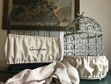 Handcrafted Beige Tan Fabric Bird Cage Seed Catcher Skirt Guard or Cover XS-XXL