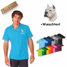 Polo shirt Cotton Embroidered Dog Pit Bull Terrier 2 + Text of your choice